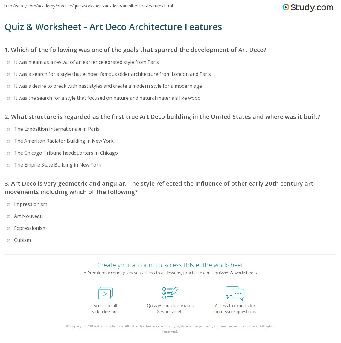 Quiz & Worksheet - Art Deco Architecture Features | Study.com