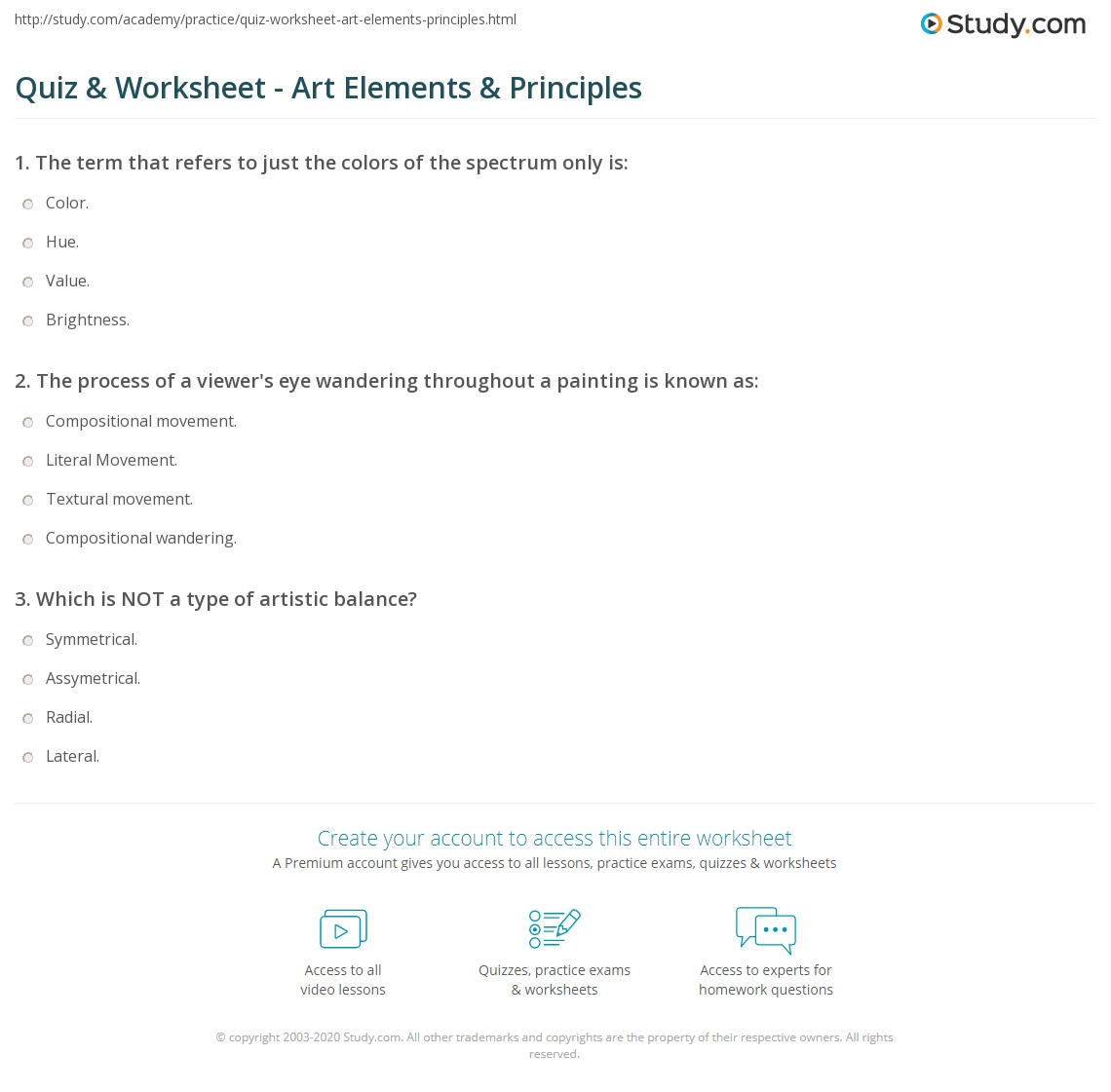 Worksheets Elements And Principles Of Art Worksheet quiz worksheet art elements principles study com print the basic of worksheet
