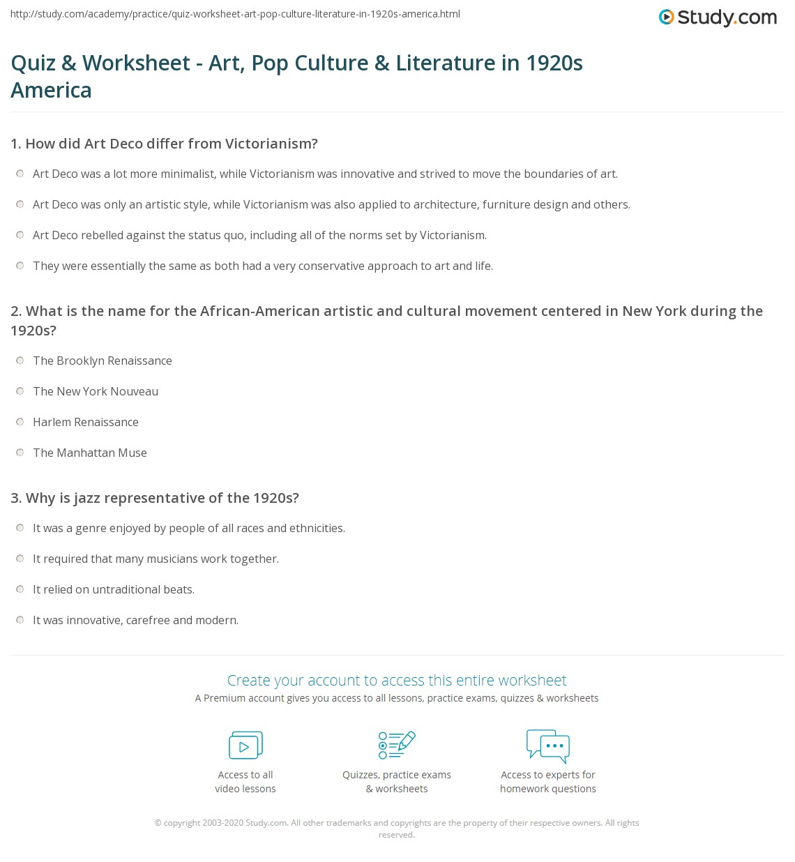 quiz worksheet art pop culture literature in 1920s america. Black Bedroom Furniture Sets. Home Design Ideas