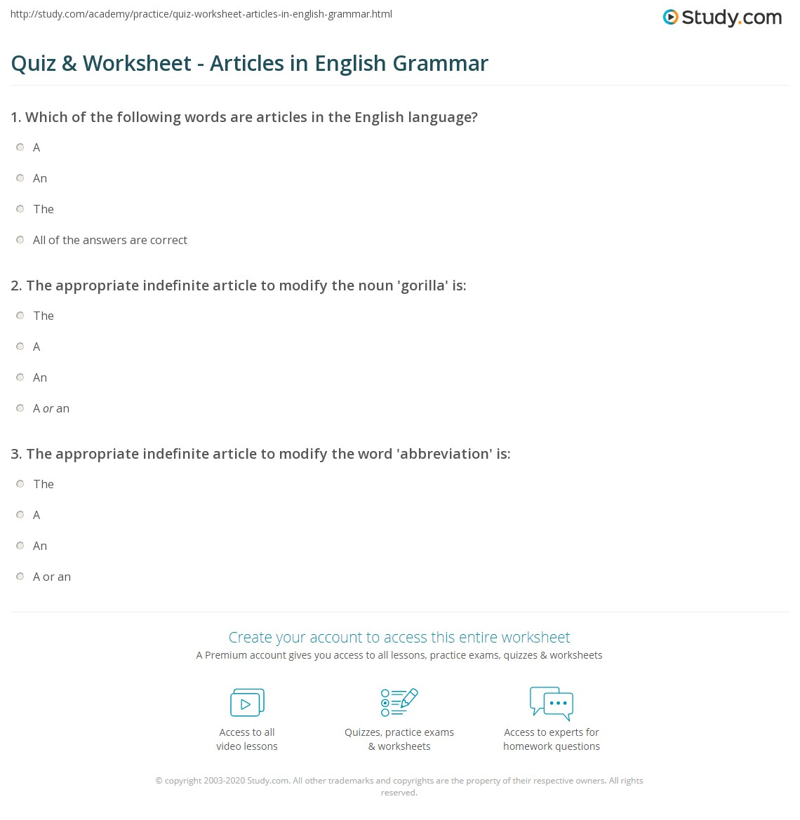 Quiz Worksheet Articles In English Grammar Study