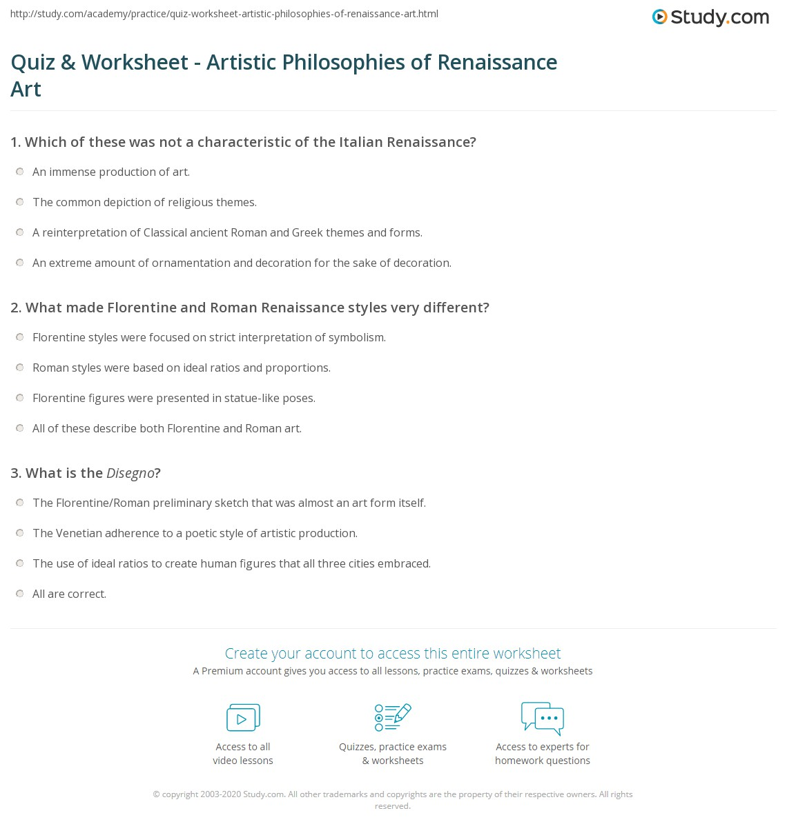 quiz worksheet artistic philosophies of renaissance art florentine and r work worksheet