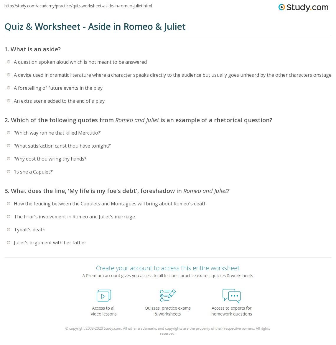 Quiz & Worksheet - Aside in Romeo & Juliet | Study.com