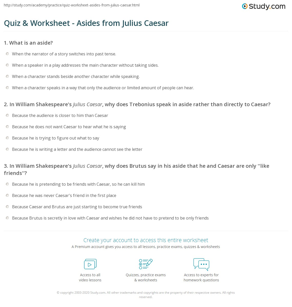 Quiz worksheet asides from julius caesar study print aside examples from julius caesar worksheet spiritdancerdesigns Images