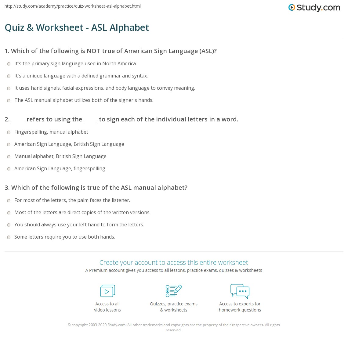 Worksheets Asl Worksheets quiz worksheet asl alphabet study com print american sign language worksheet