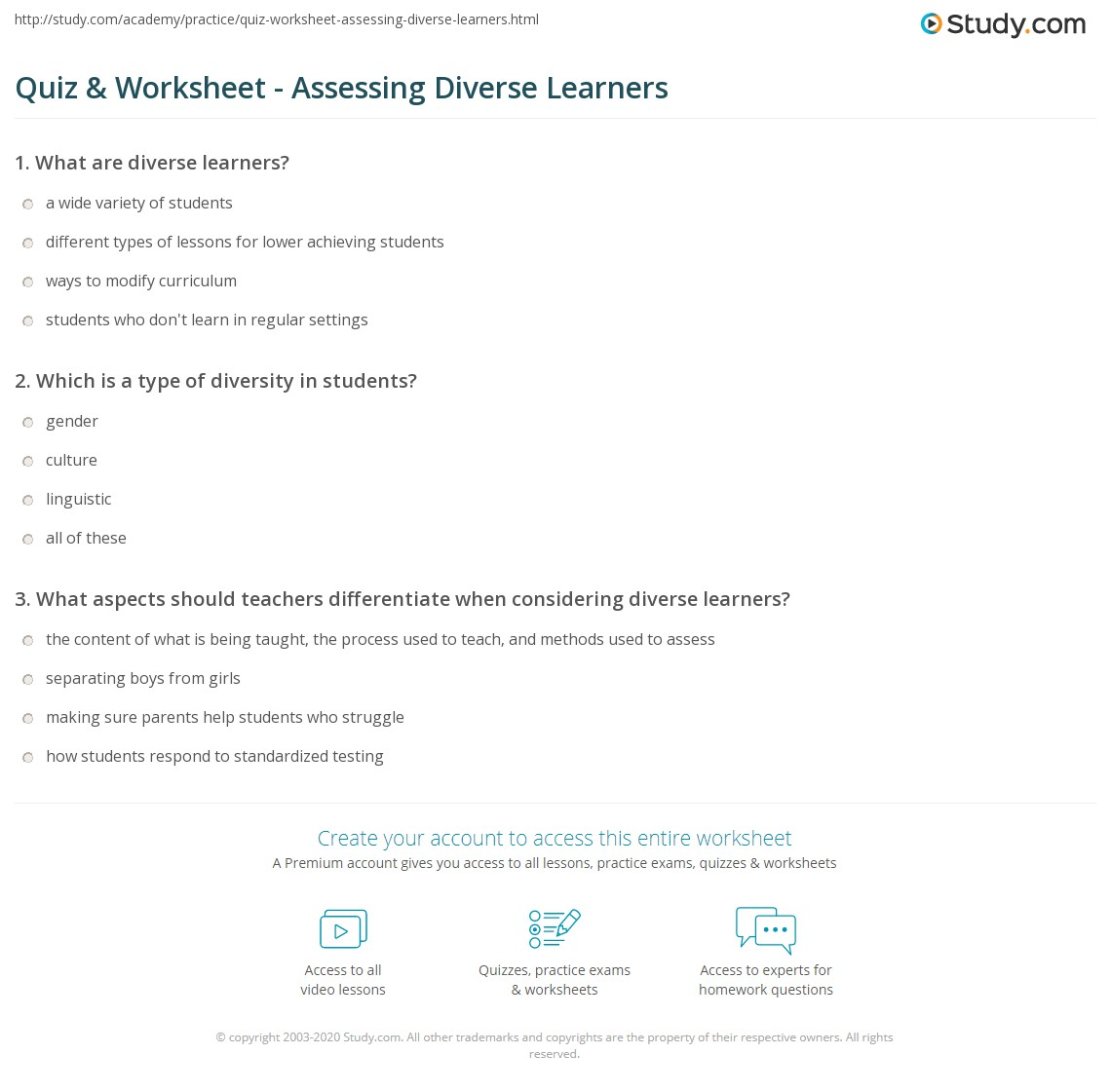 Quiz Worksheet Assessing Diverse Learners Study