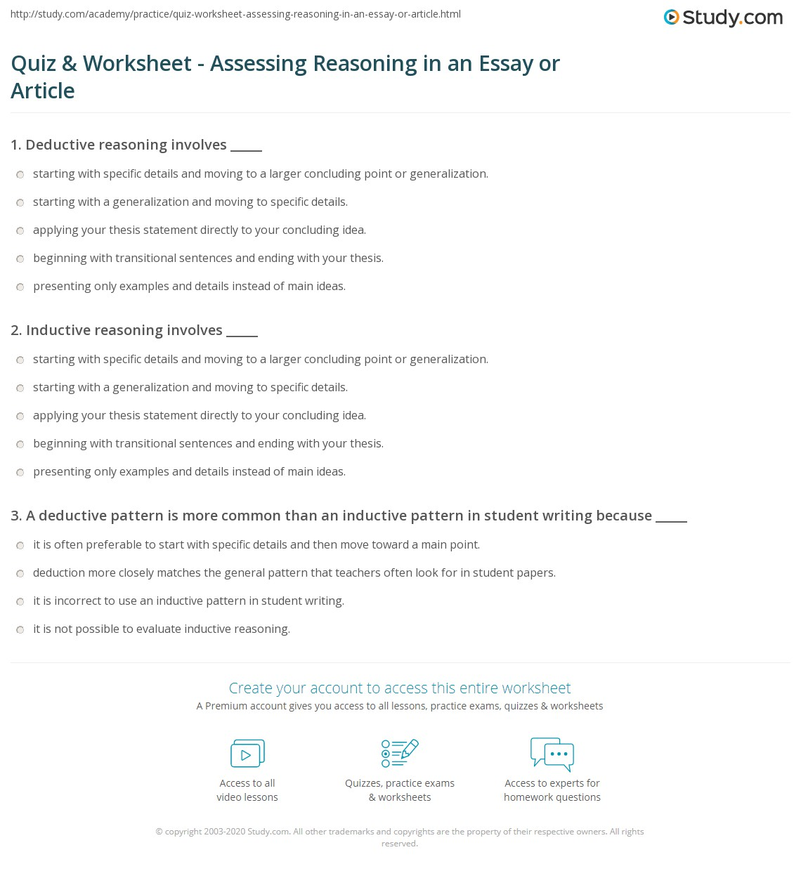 quiz worksheet assessing reasoning in an essay or article  print evaluating reasoning in an essay or article worksheet