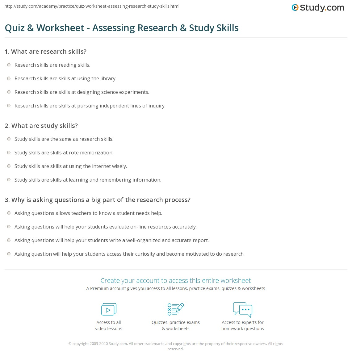 Worksheets Science Process Skills Worksheets quiz worksheet assessing research study skills com print how to assess student worksheet