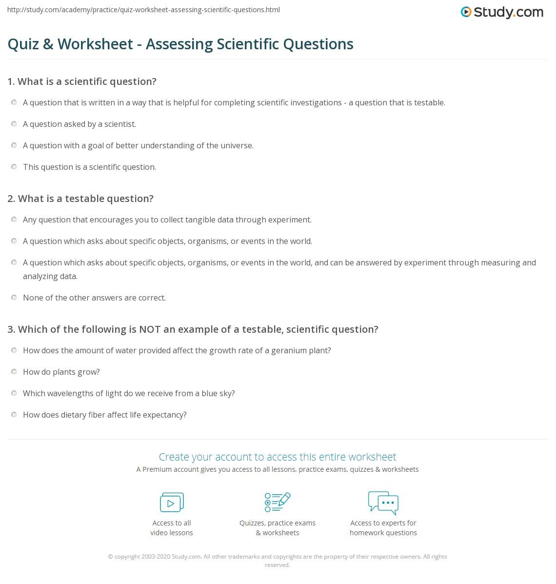 Quiz & Worksheet - Assessing Scientific Questions | Study.com