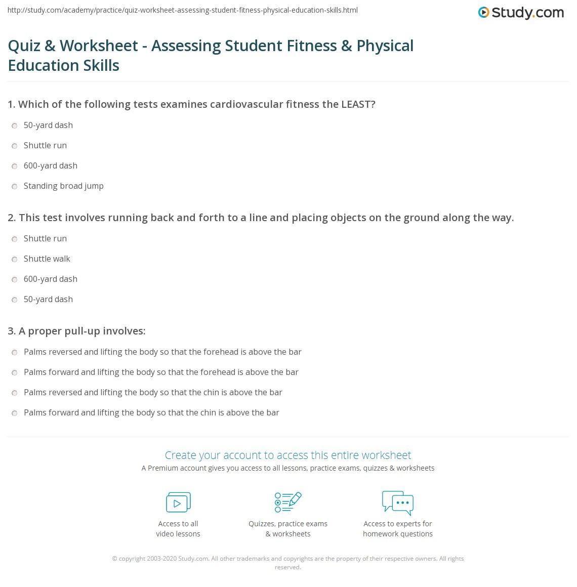 worksheet Fitness Testing Worksheet quiz worksheet assessing student fitness physical education print assessment of skills worksheet