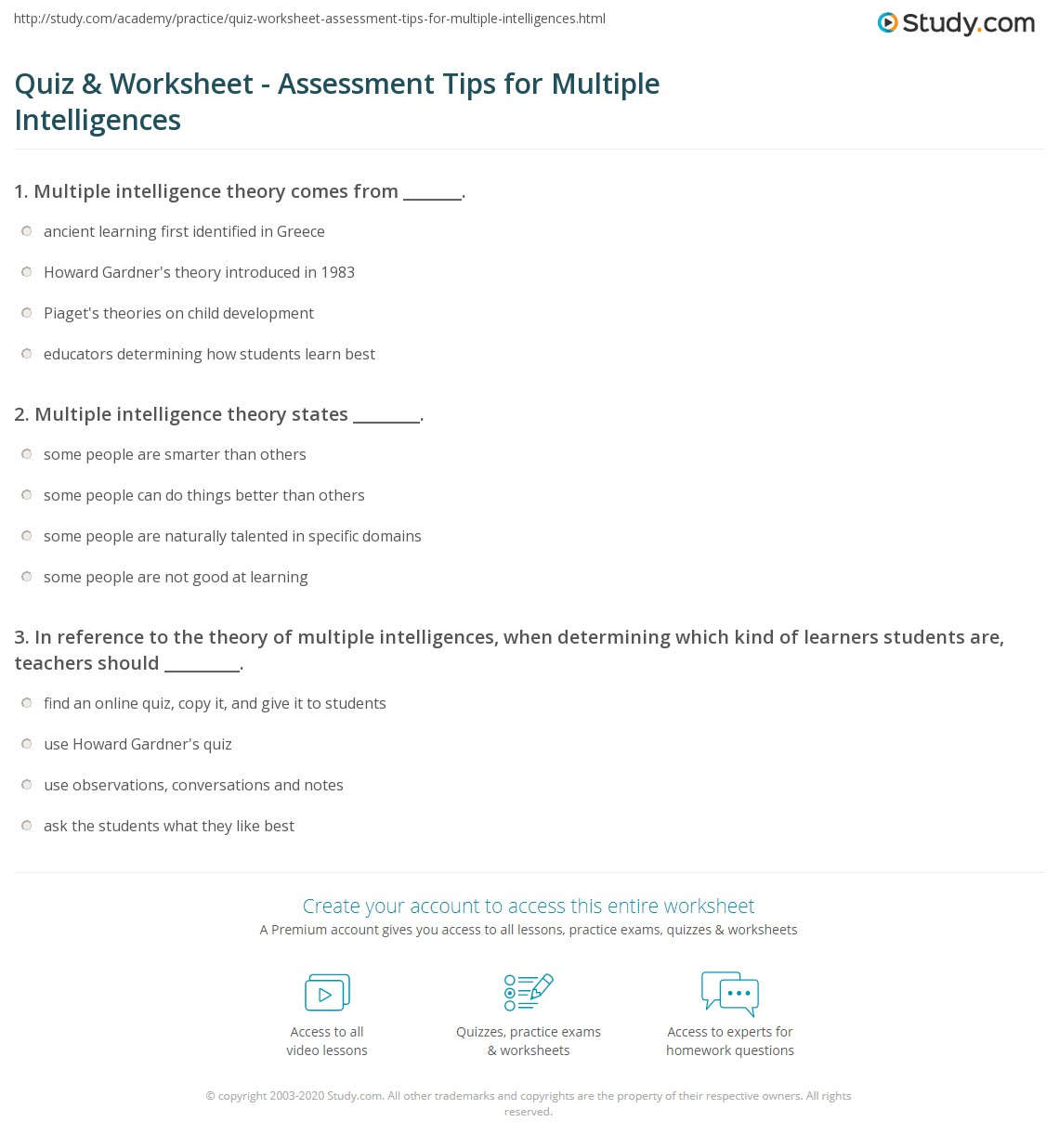 graphic relating to Multiple Intelligence Test Printable named Quiz Worksheet - Analysis Guidelines for Various
