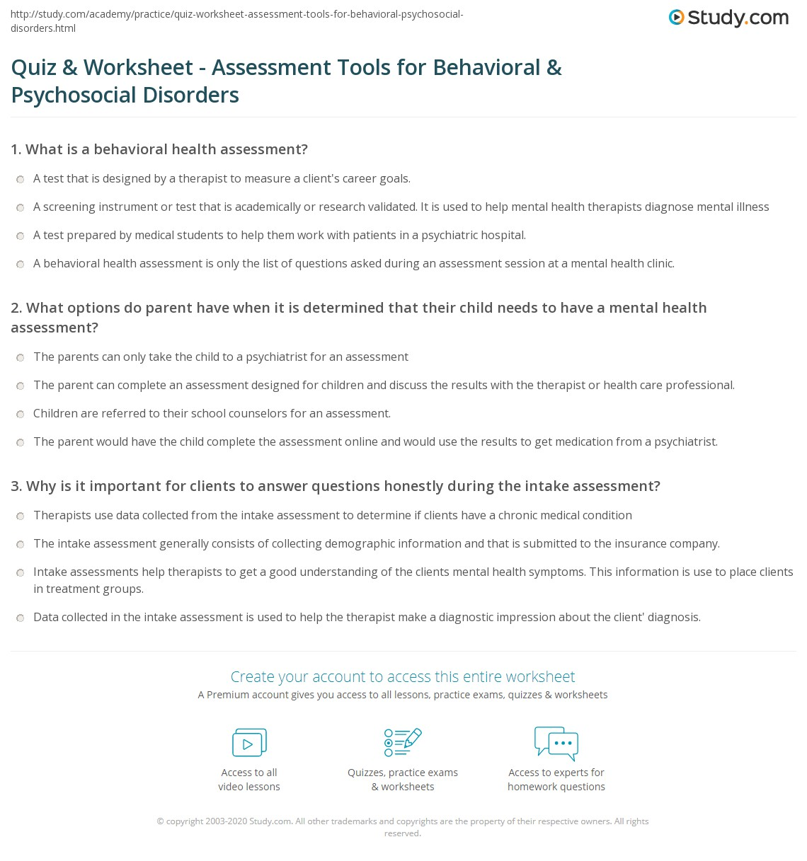 Quiz Worksheet Assessment Tools For Behavioral Psychosocial
