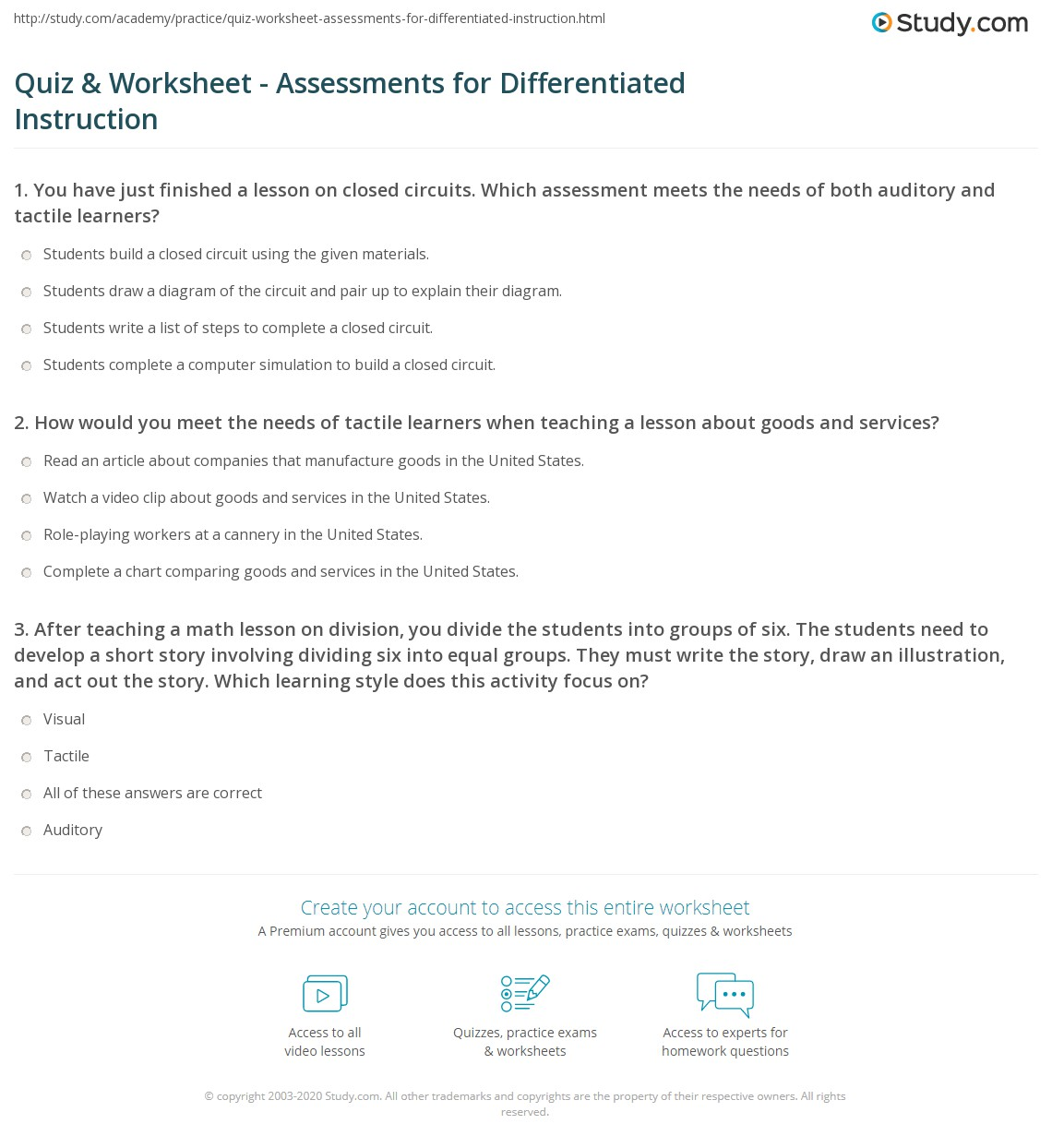 Quiz Worksheet Assessments For Differentiated Instruction