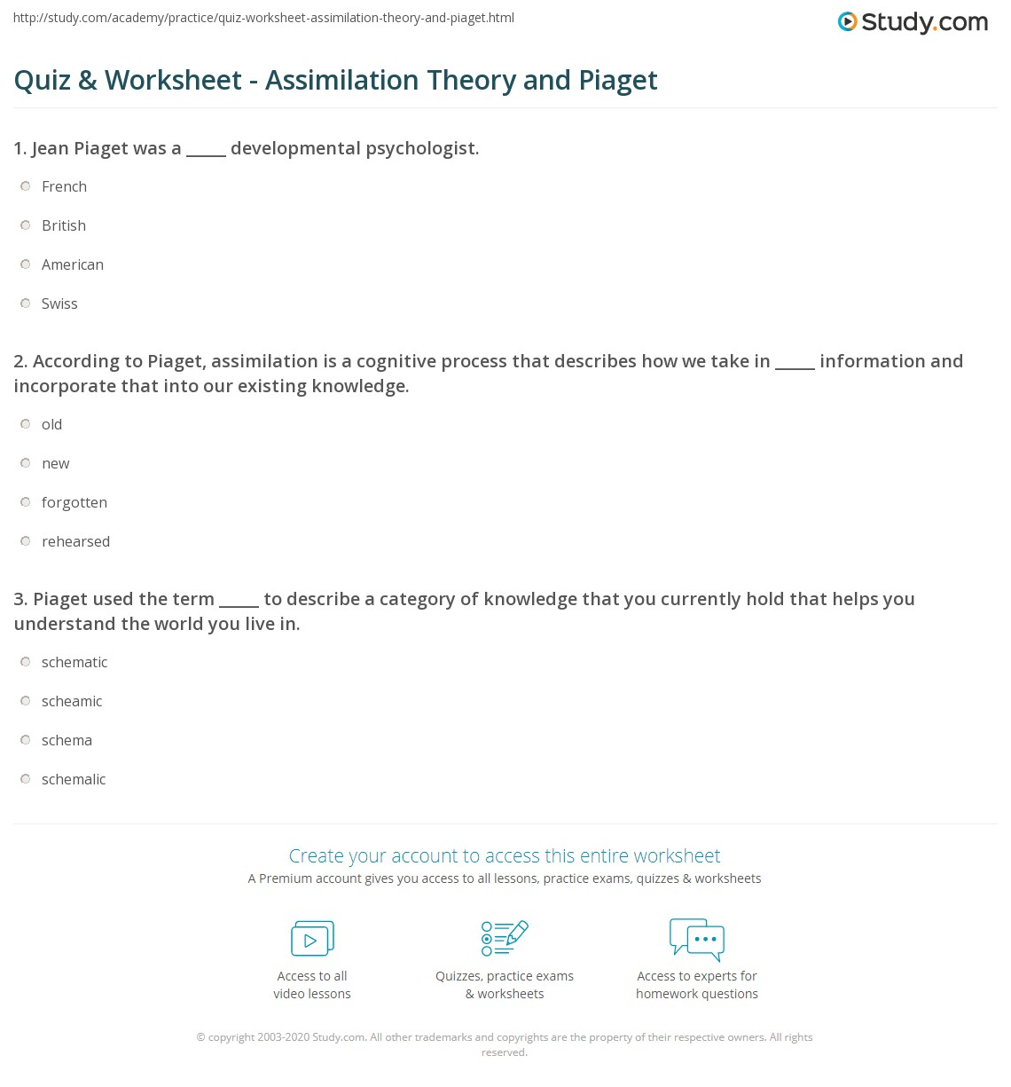 Quiz & Worksheet - Assimilation Theory and Piaget | Study.com