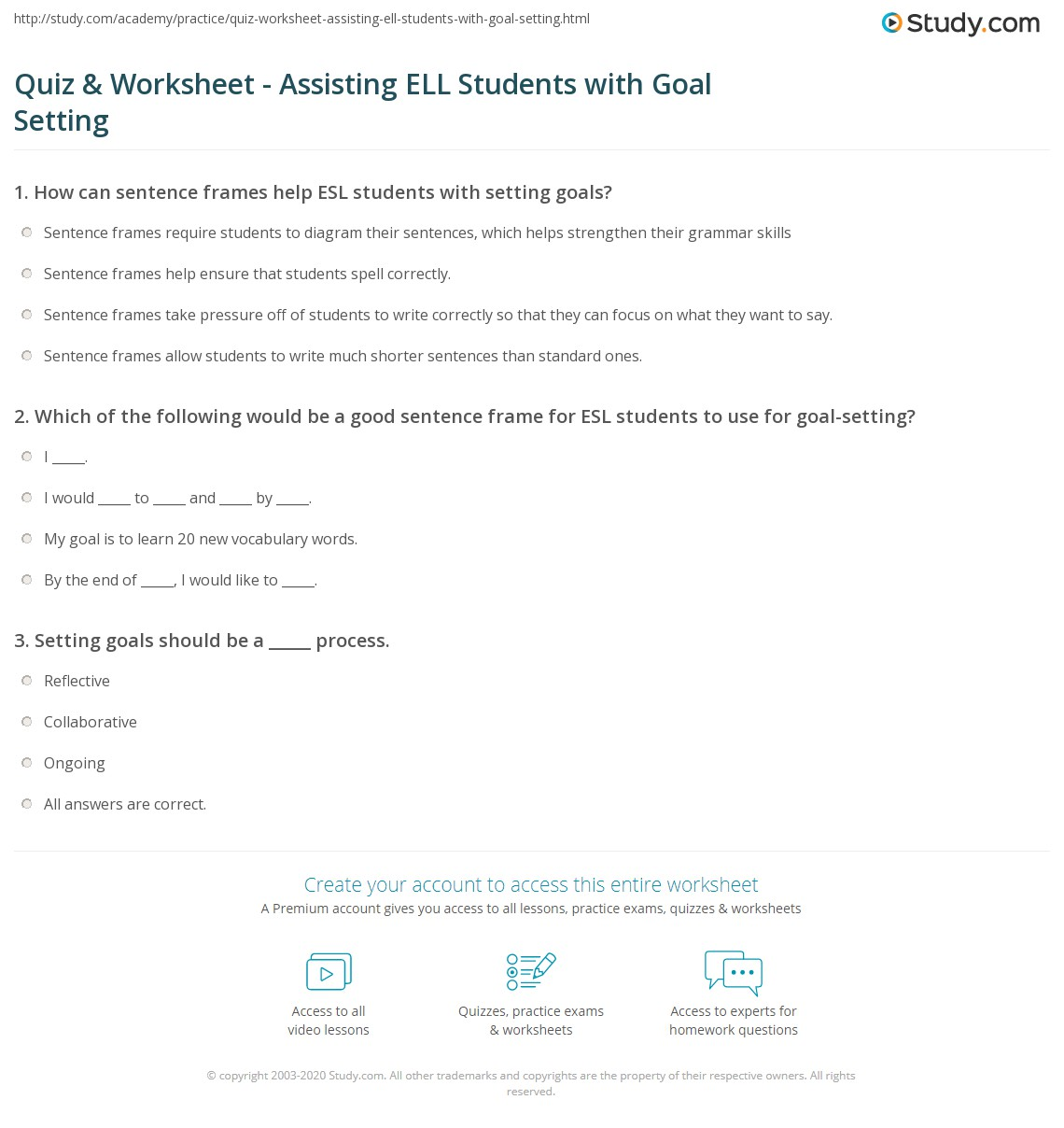 Quiz & Worksheet - Assisting ELL Students with Goal Setting ...