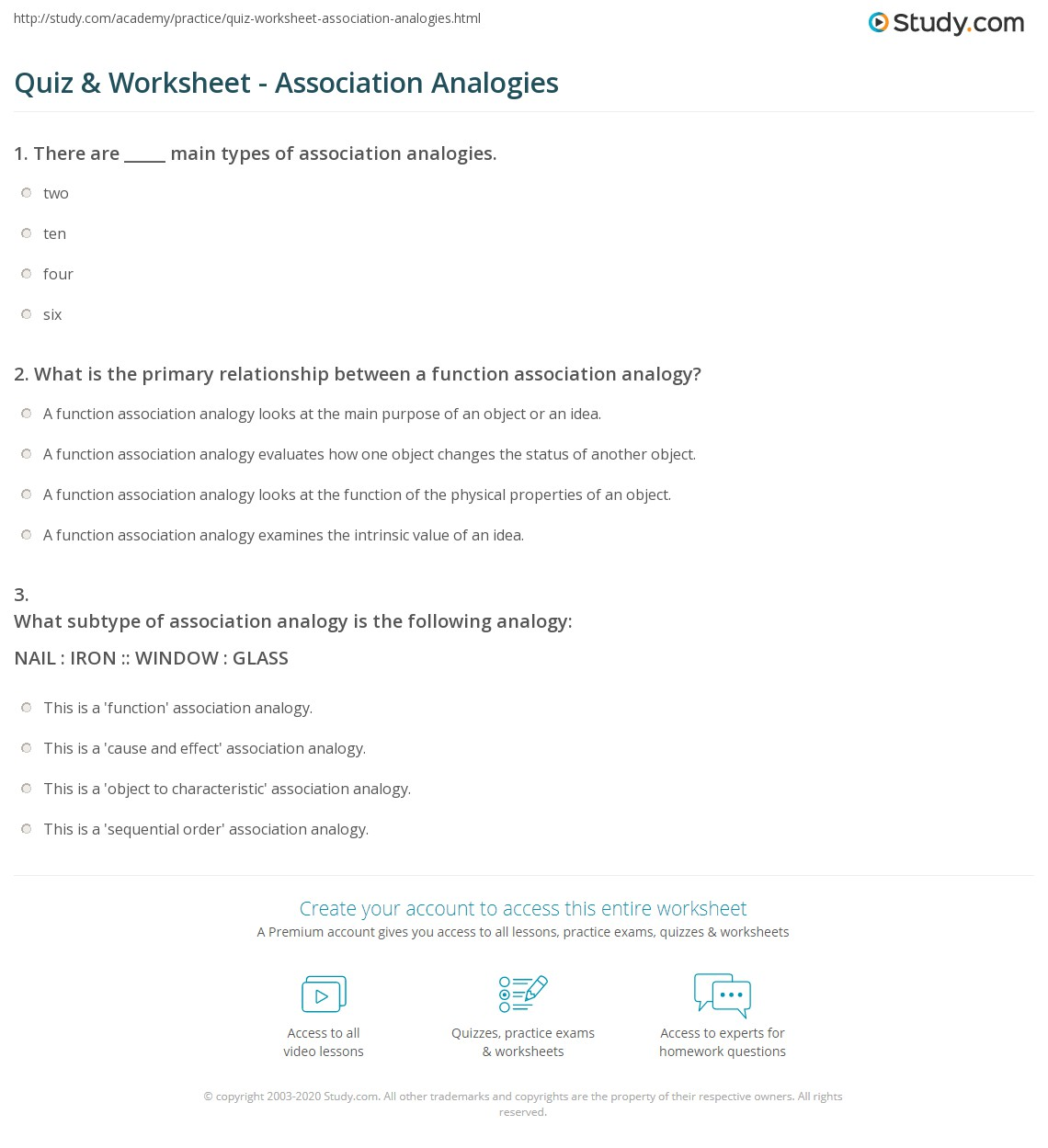 quiz worksheet association analogies. Black Bedroom Furniture Sets. Home Design Ideas