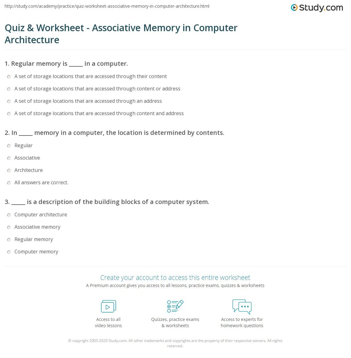 worksheet Computer Memory Worksheet quiz worksheet associative memory in computer architecture print worksheet