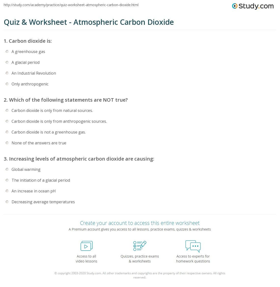 Quiz worksheet atmospheric carbon dioxide study print atmospheric carbon dioxide history environmental effects worksheet gamestrikefo Image collections