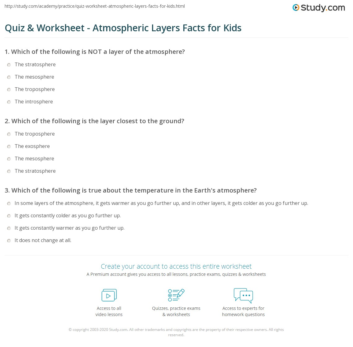 Quiz Worksheet Atmospheric Layers Facts For Kids