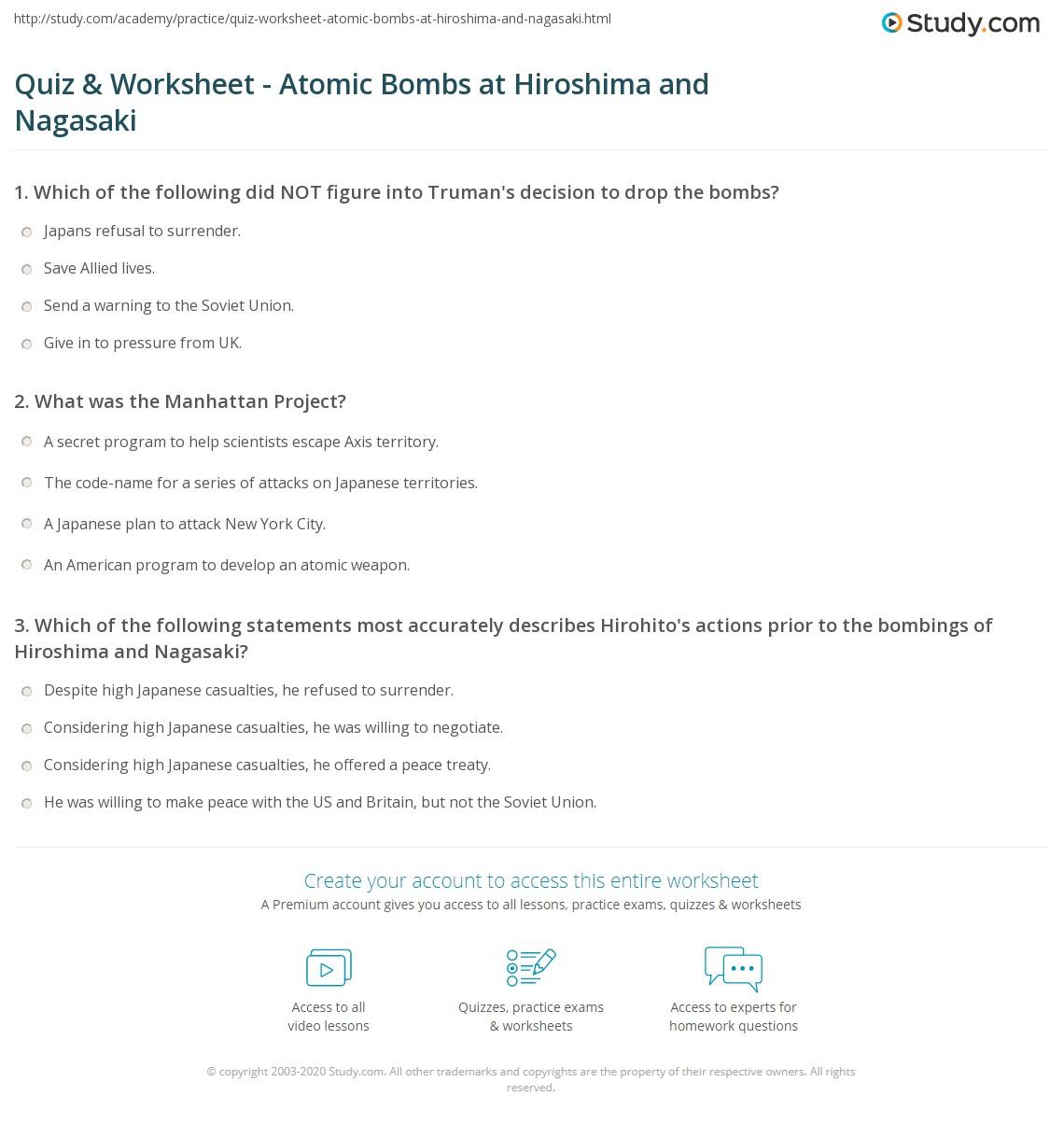 Quiz & Worksheet - Atomic Bombs at Hiroshima and Nagasaki | Study.com