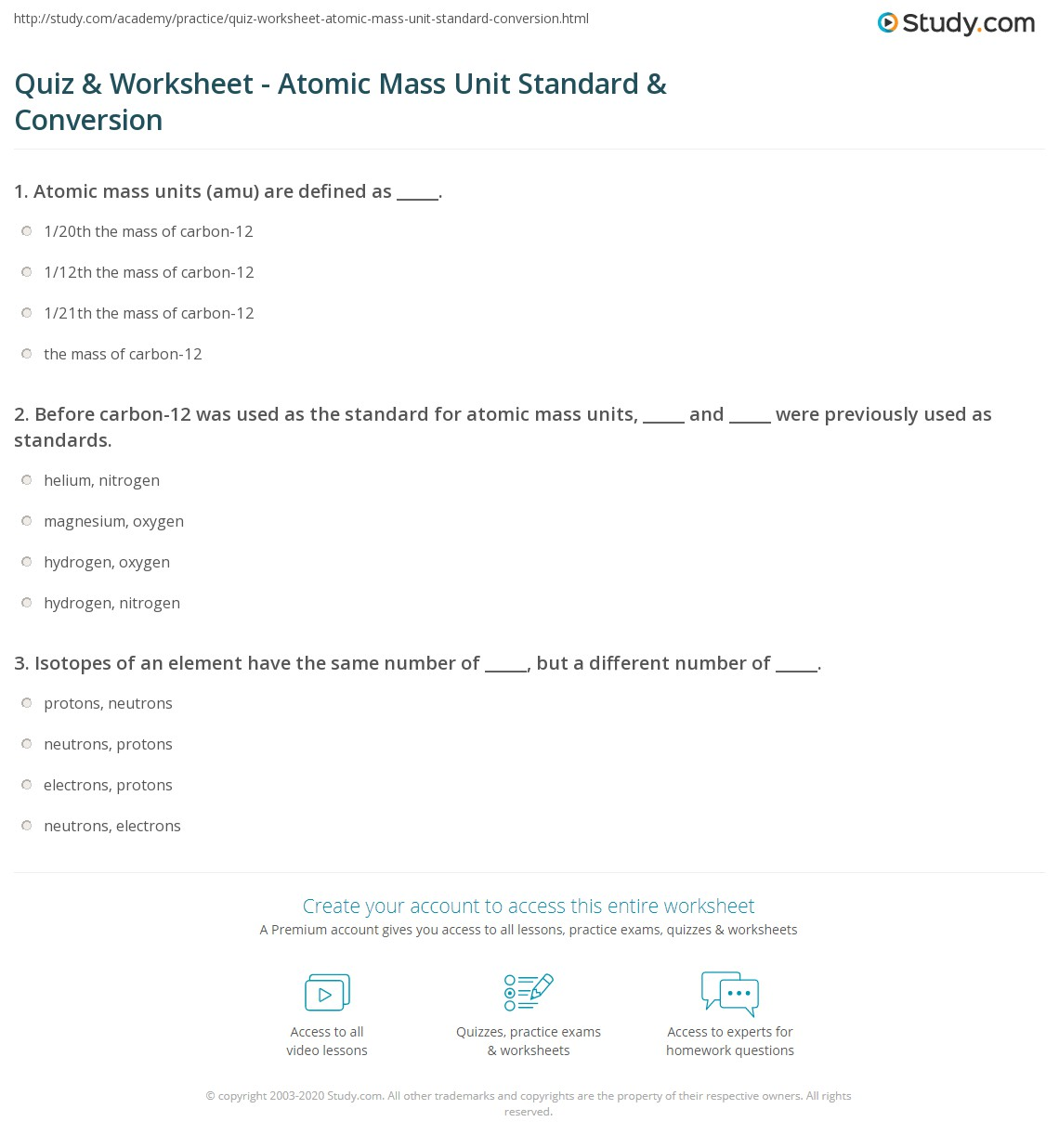 Quiz Worksheet Atomic Mass Unit Standard Conversion Study