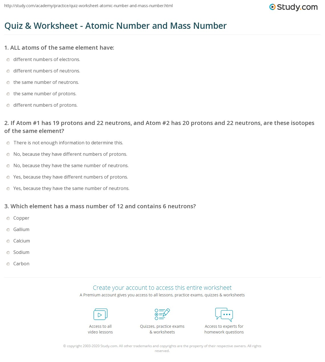Quiz & Worksheet - Atomic Number and Mass Number | Study.com