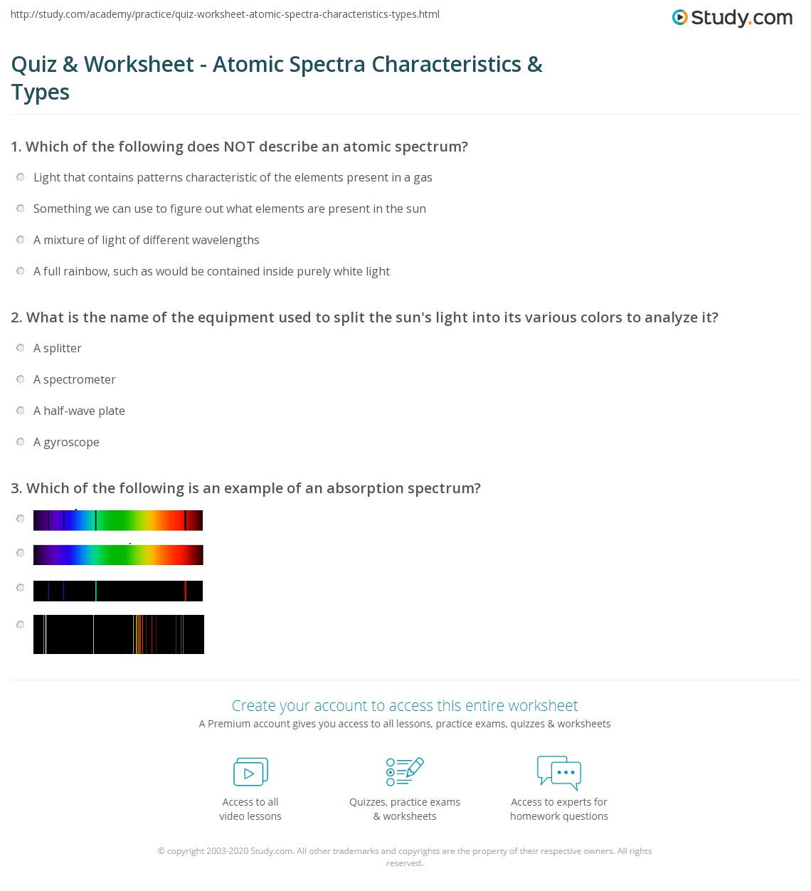 quiz worksheet atomic spectra characteristics types. Black Bedroom Furniture Sets. Home Design Ideas