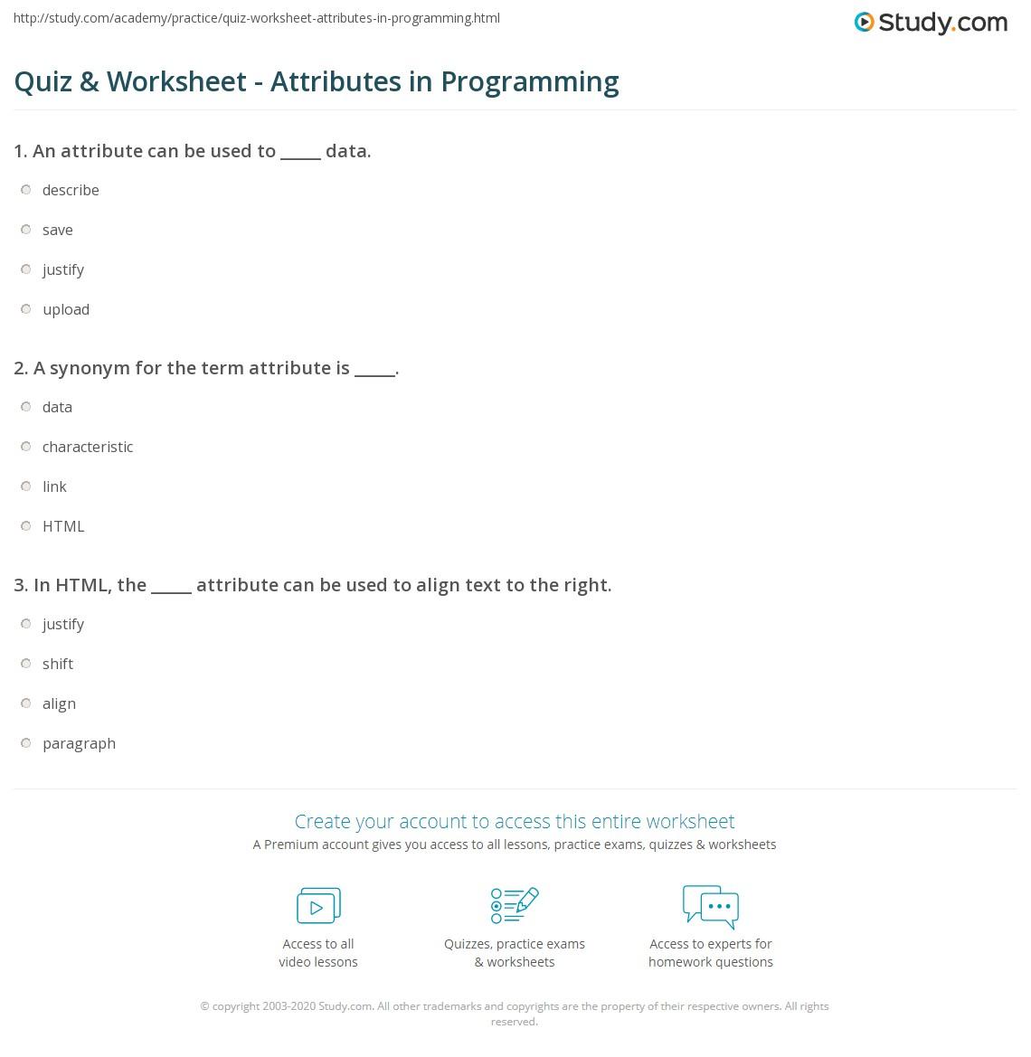 Quiz Worksheet Attributes In Programming Study
