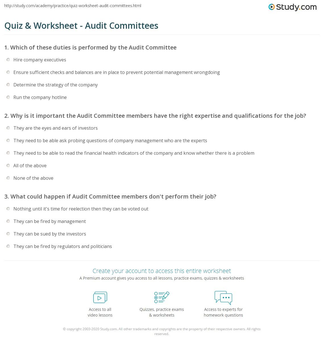 Worksheets Worksheet-audit quiz worksheet audit committees study com print committee role responsibilities worksheet