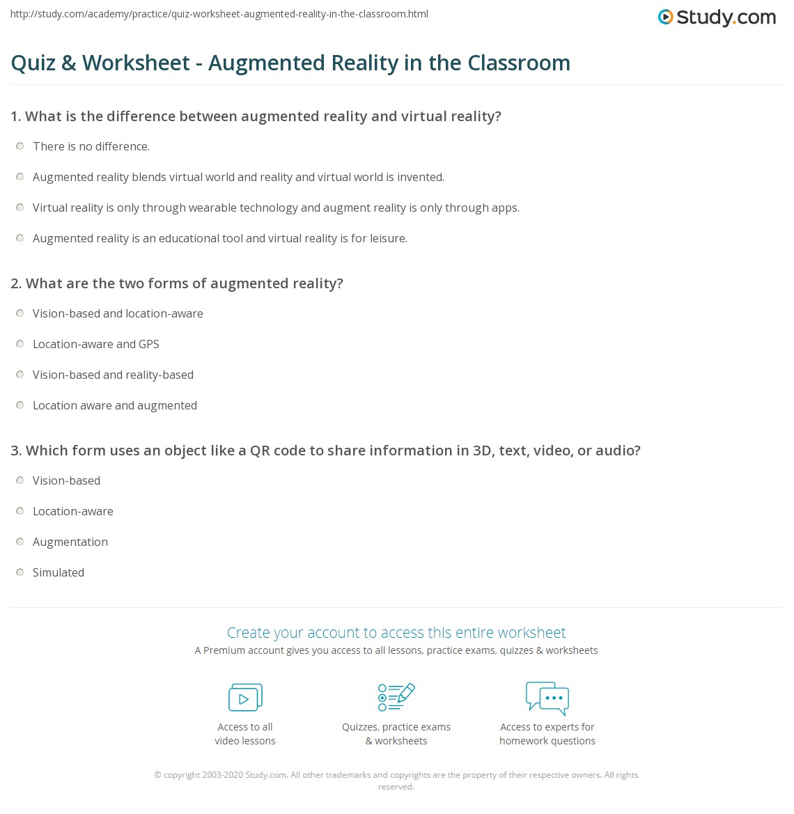 Quiz & Worksheet - Augmented Reality in the Classroom ...