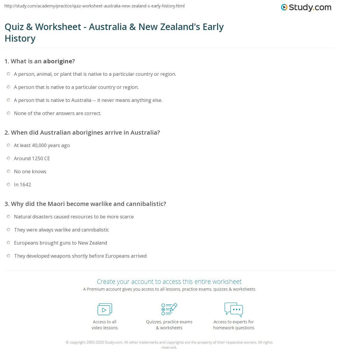 worksheet Worksheets About Australia quiz worksheet australia new zealands early history study com print the of zealand worksheet