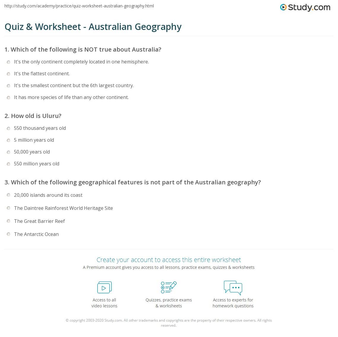 Quiz & Worksheet - Australian Geography | Study.com