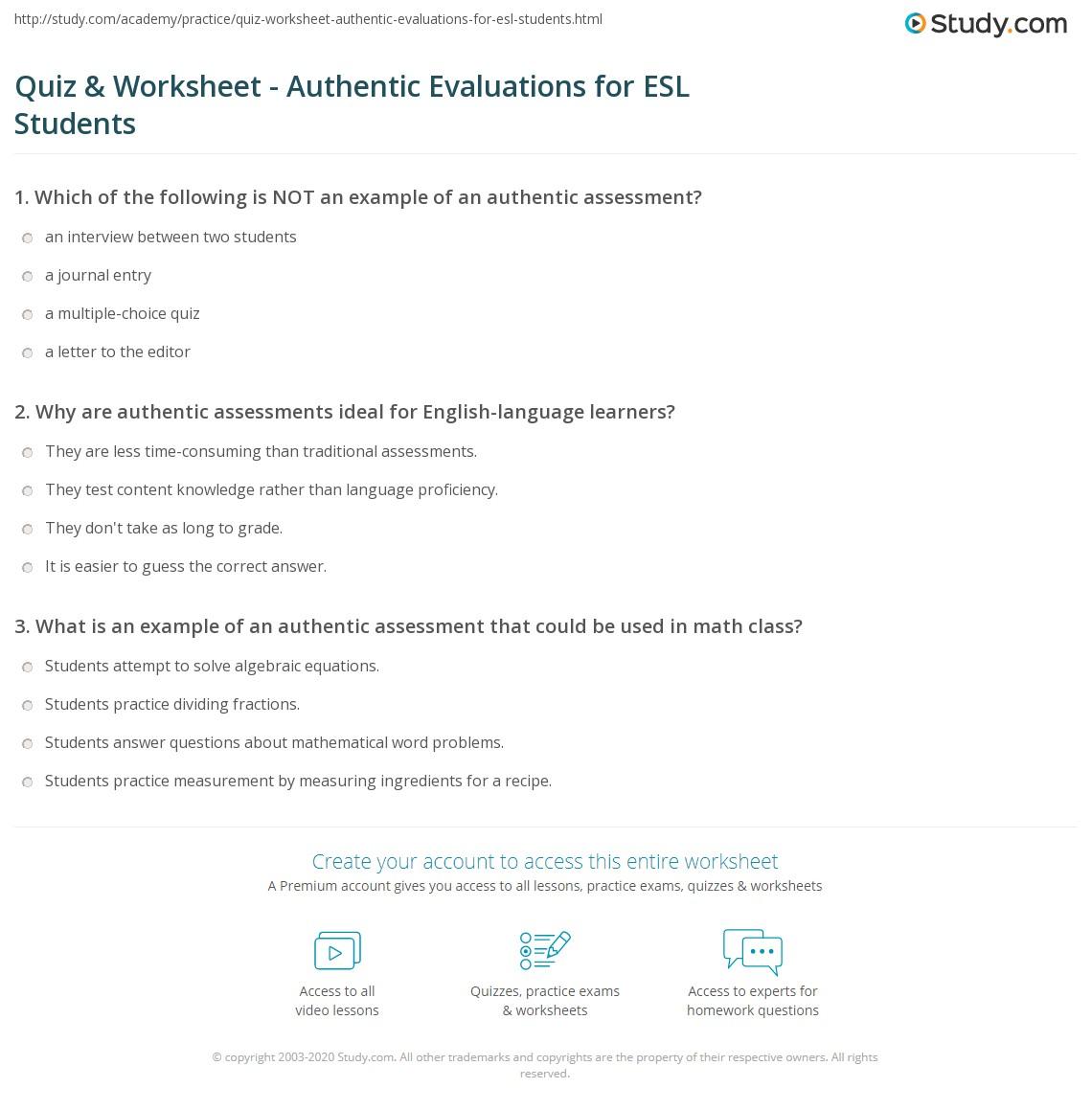Quiz Worksheet Authentic Evaluations for ESL Students – Esl Practice Worksheets