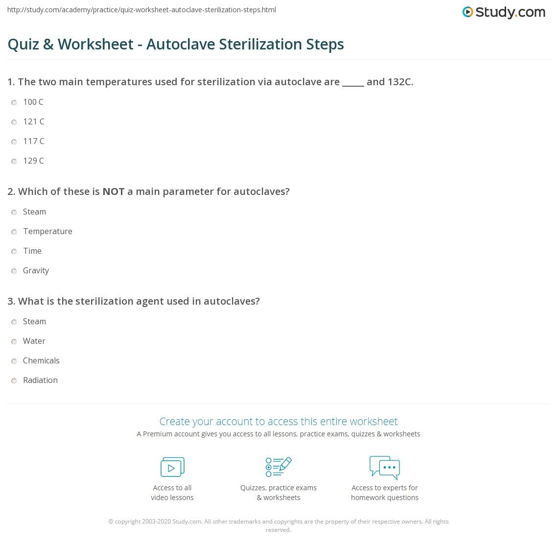 Quiz & Worksheet - Autoclave Sterilization Steps | Study com