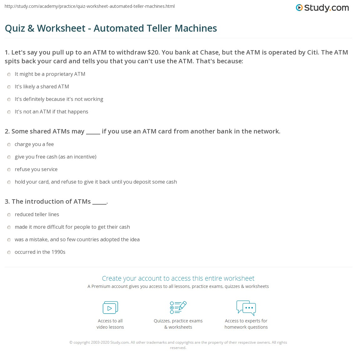 Quiz Worksheet Automated Teller Machines Study