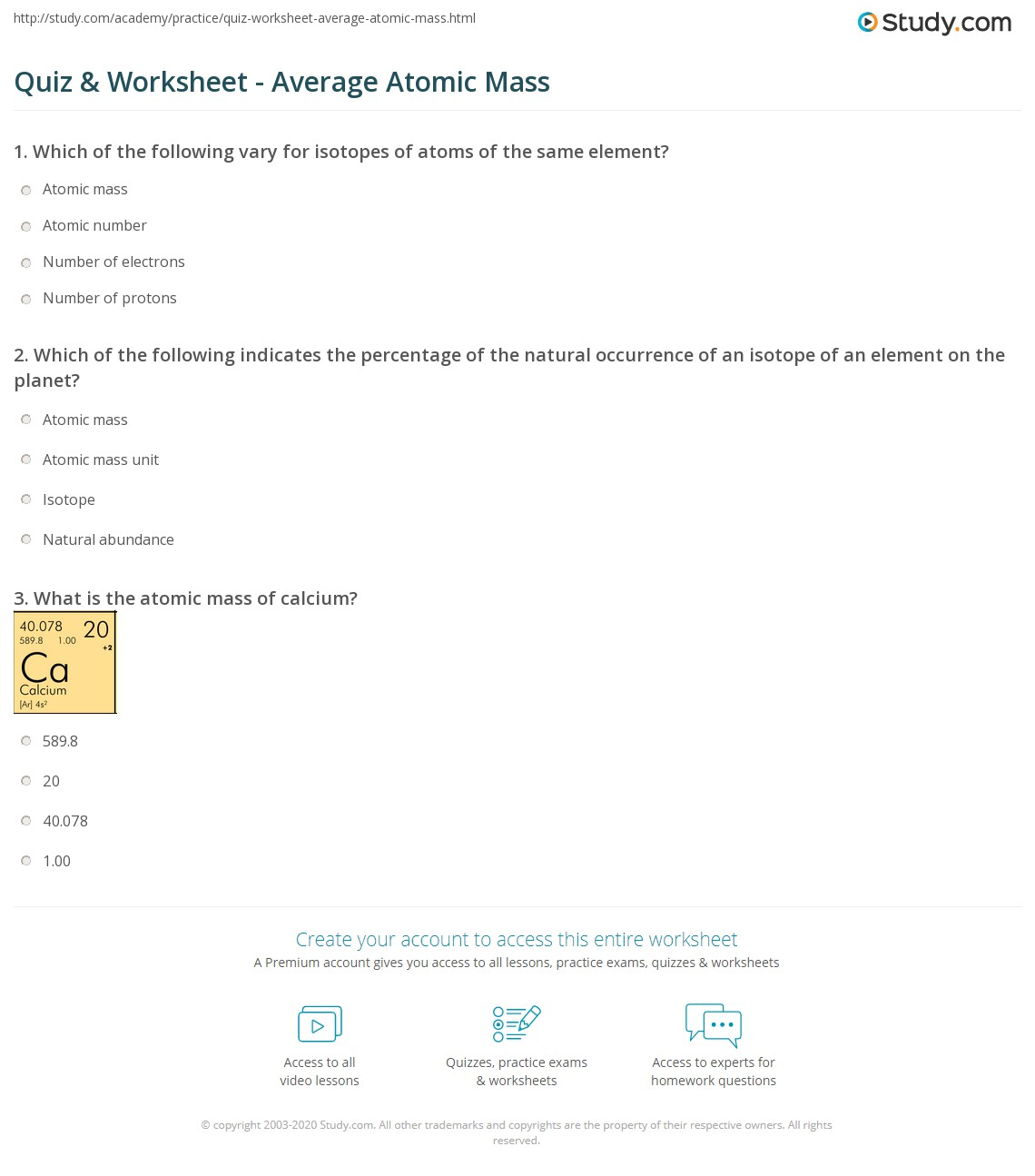 Quiz Worksheet Average Atomic Mass Study