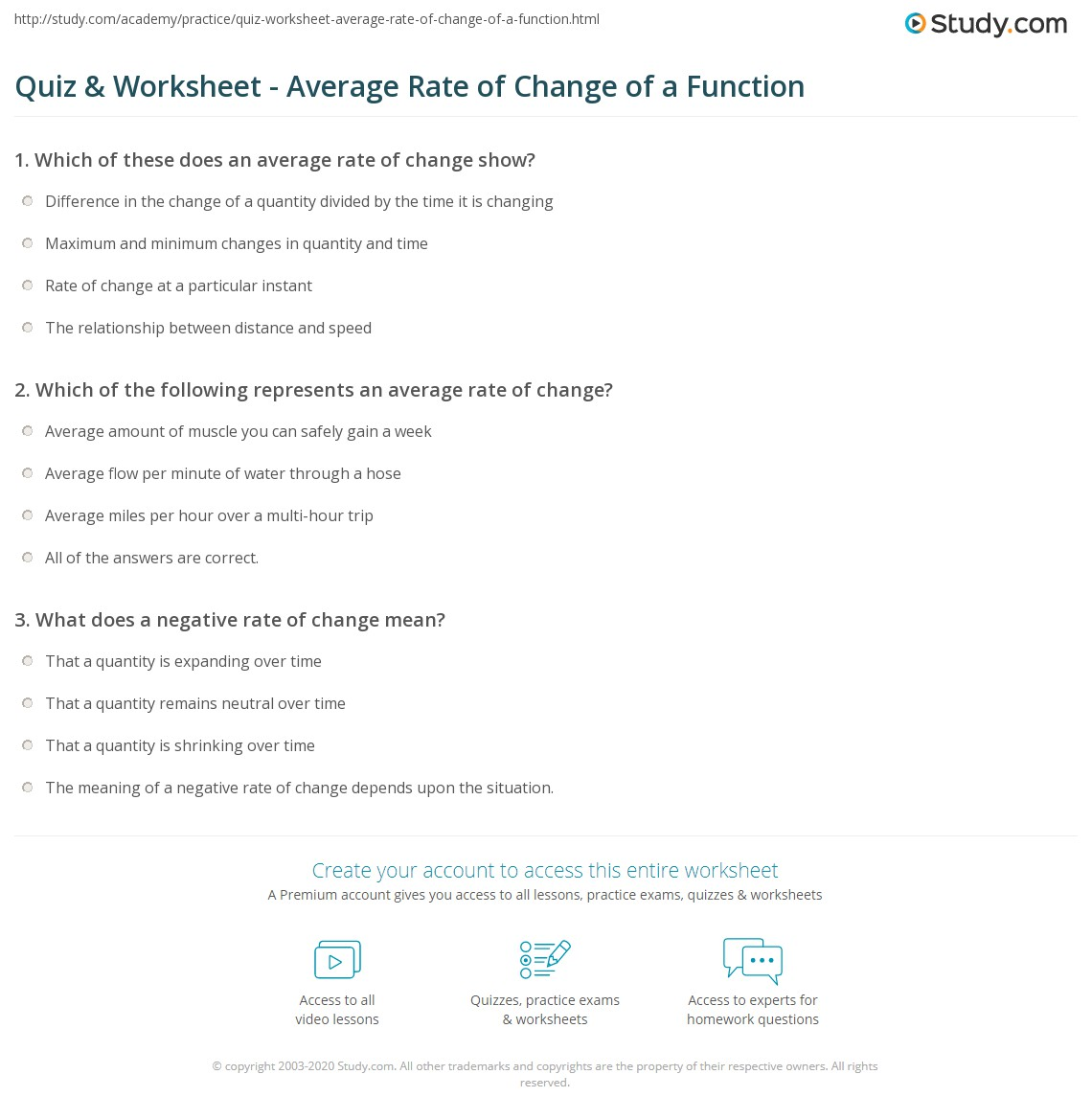 worksheet Slope Rate Of Change Worksheet quiz worksheet average rate of change a function study com print calculating interpreting functions worksheet