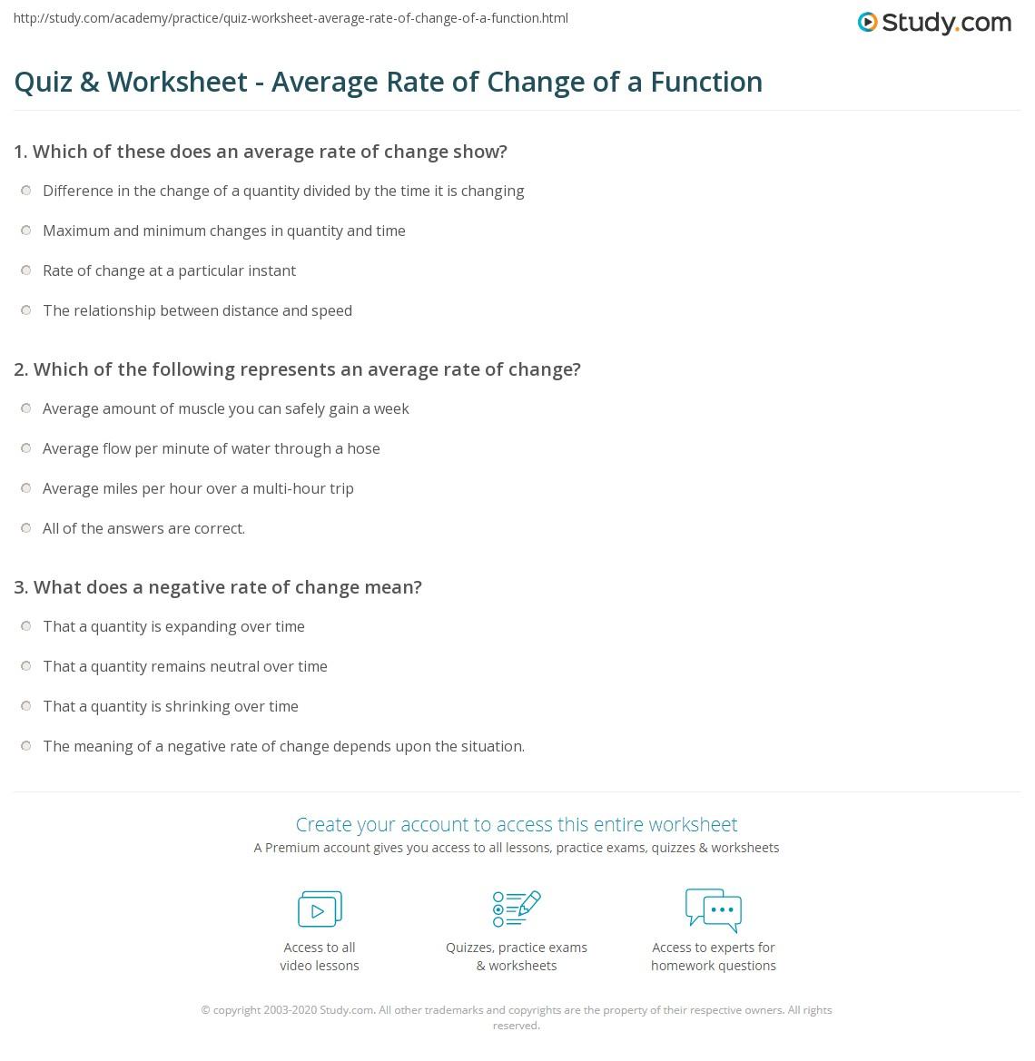 Worksheets Average Rate Of Change Worksheet quiz worksheet average rate of change a function study com print calculating interpreting functions worksheet