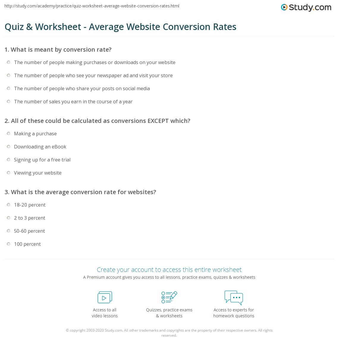 Quiz & Worksheet - Average Website Conversion Rates | Study.com