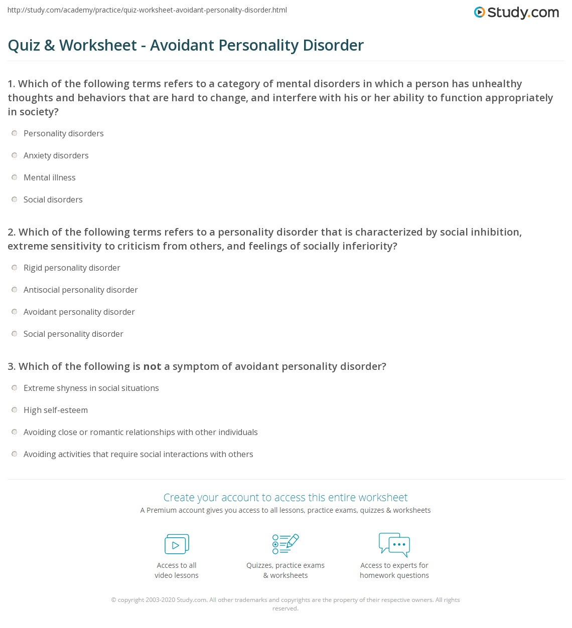 personality disorder avoidant personality disorder quiz. Black Bedroom Furniture Sets. Home Design Ideas