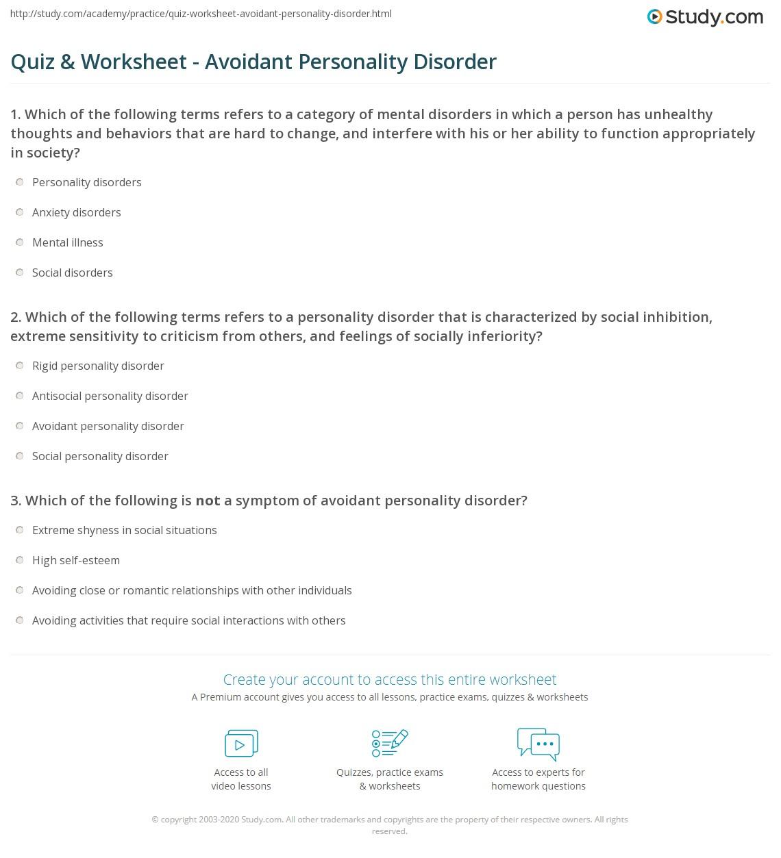 Quiz Worksheet Avoidant Personality Disorder – Social Anxiety Worksheets
