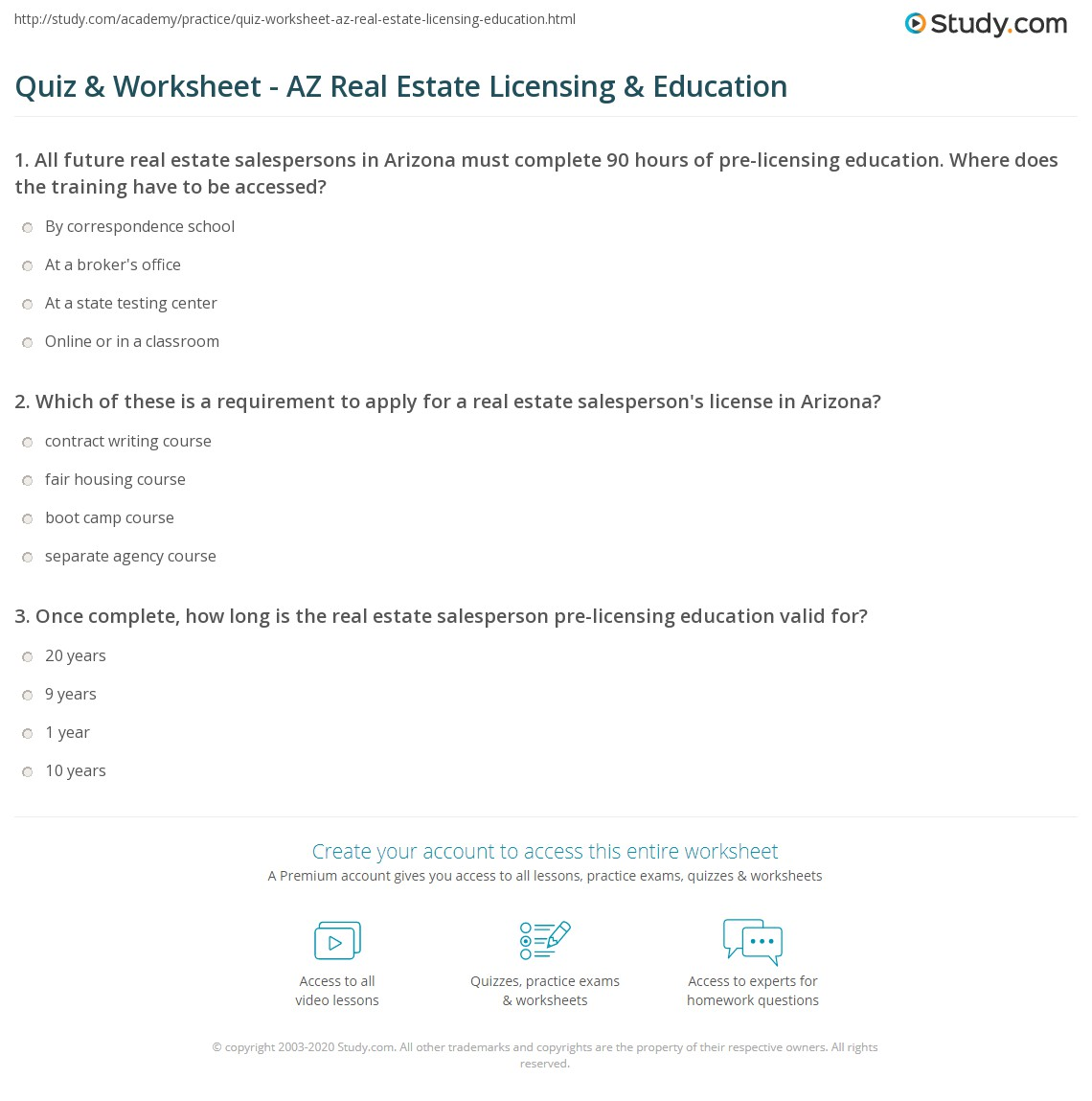 Quiz Worksheet Az Real Estate Licensing Education Studycom