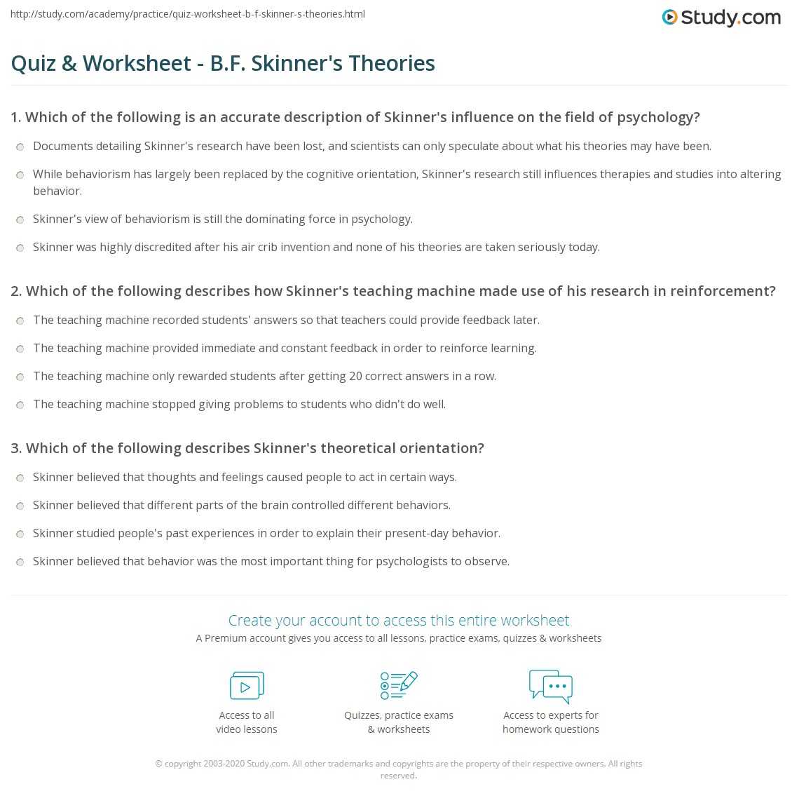 quiz worksheet b f skinner 39 s theories. Black Bedroom Furniture Sets. Home Design Ideas