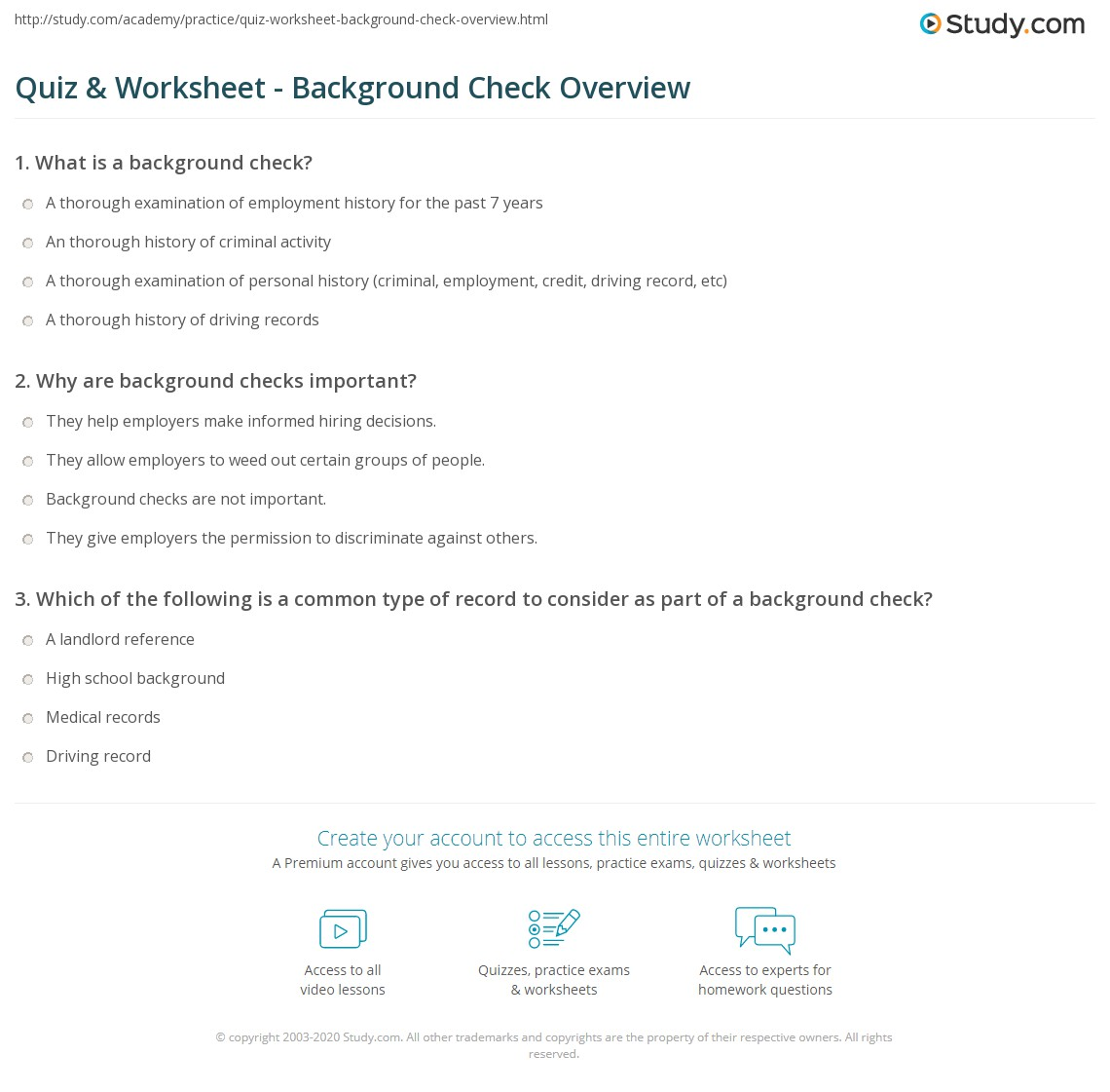 Quiz worksheet background check overview study print background checks definition laws worksheet thecheapjerseys Choice Image