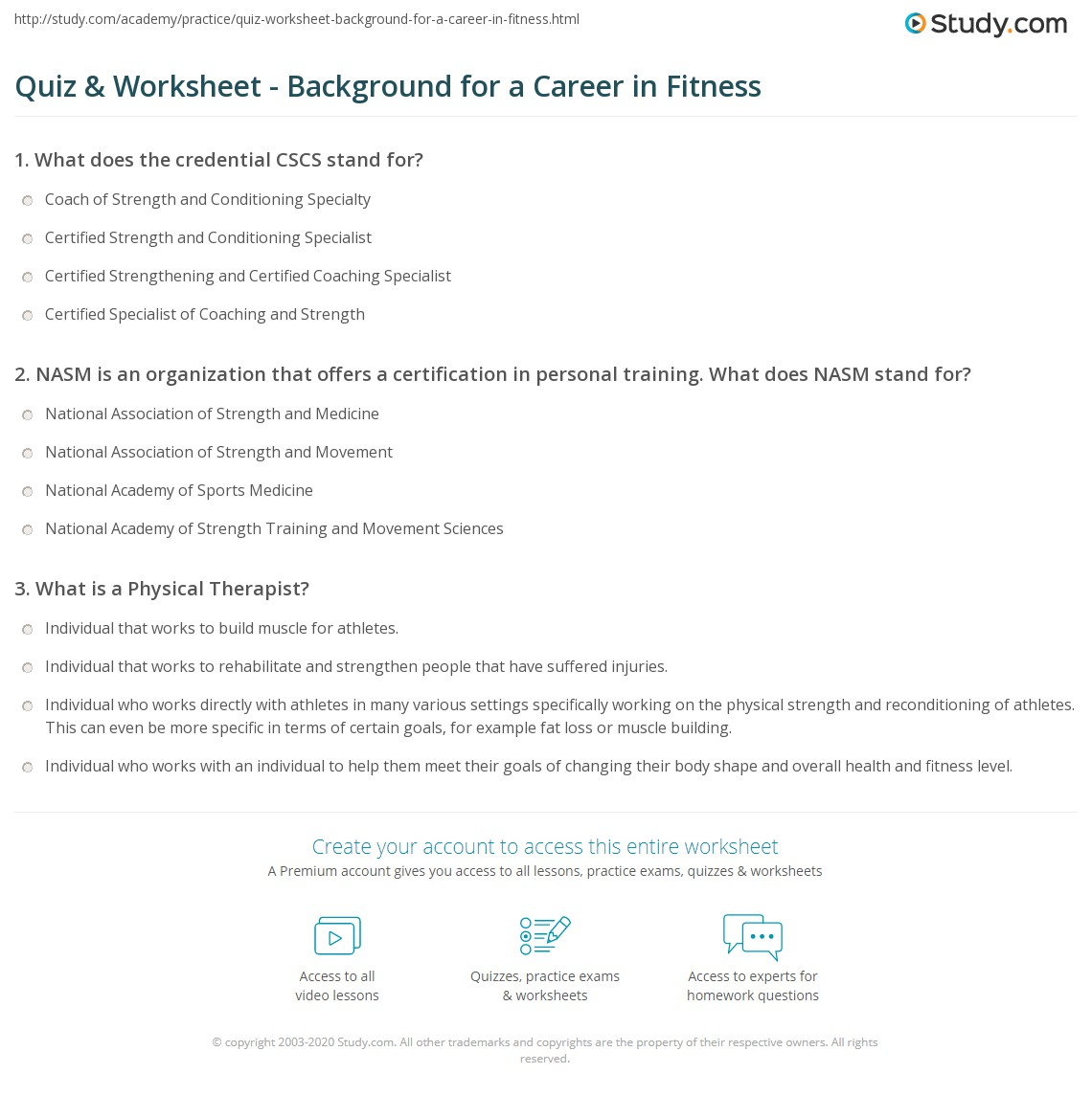 Quiz Worksheet Background For A Career In Fitness Study