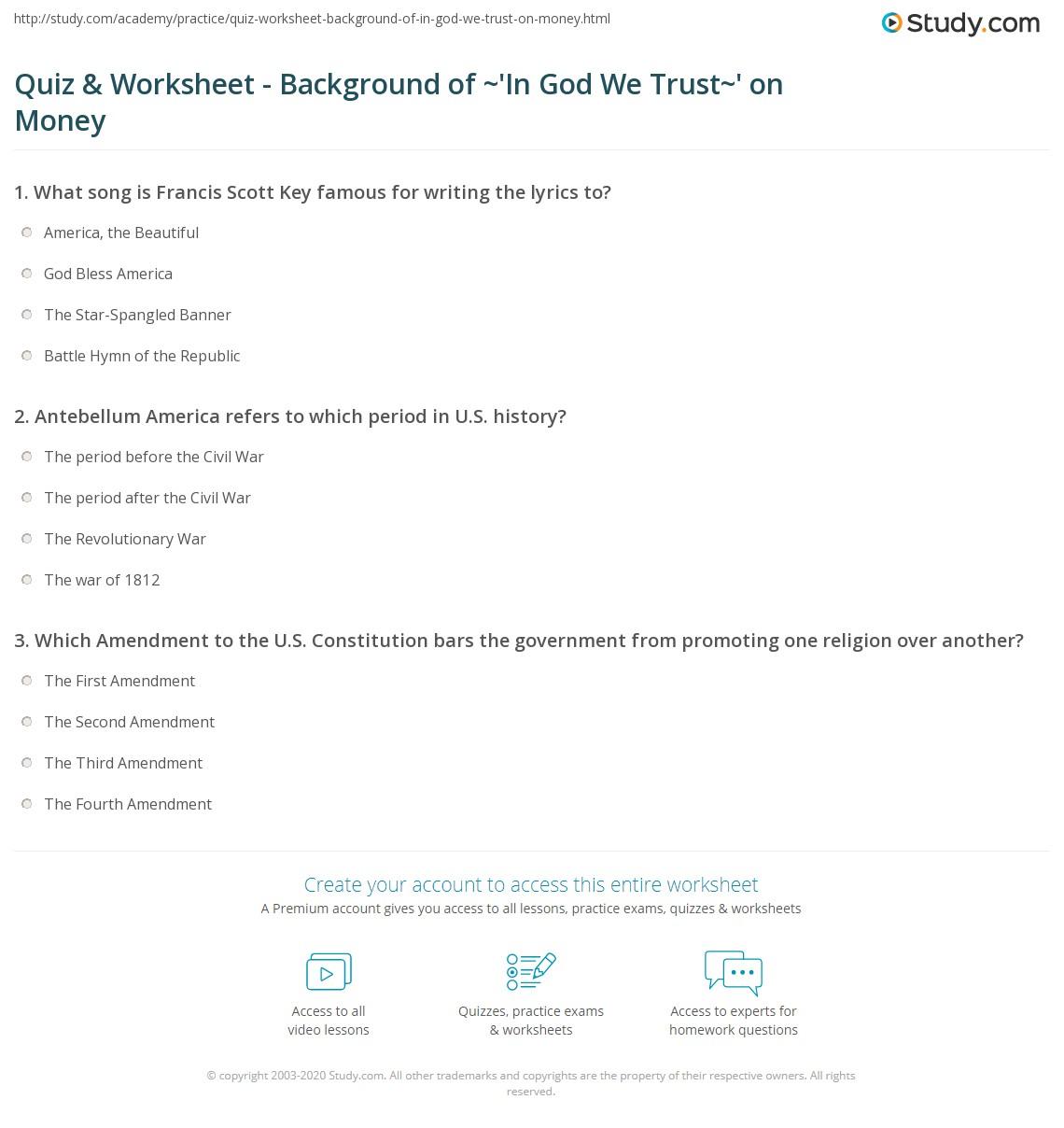 quiz worksheet background of 39 in god we trust 39 on money. Black Bedroom Furniture Sets. Home Design Ideas
