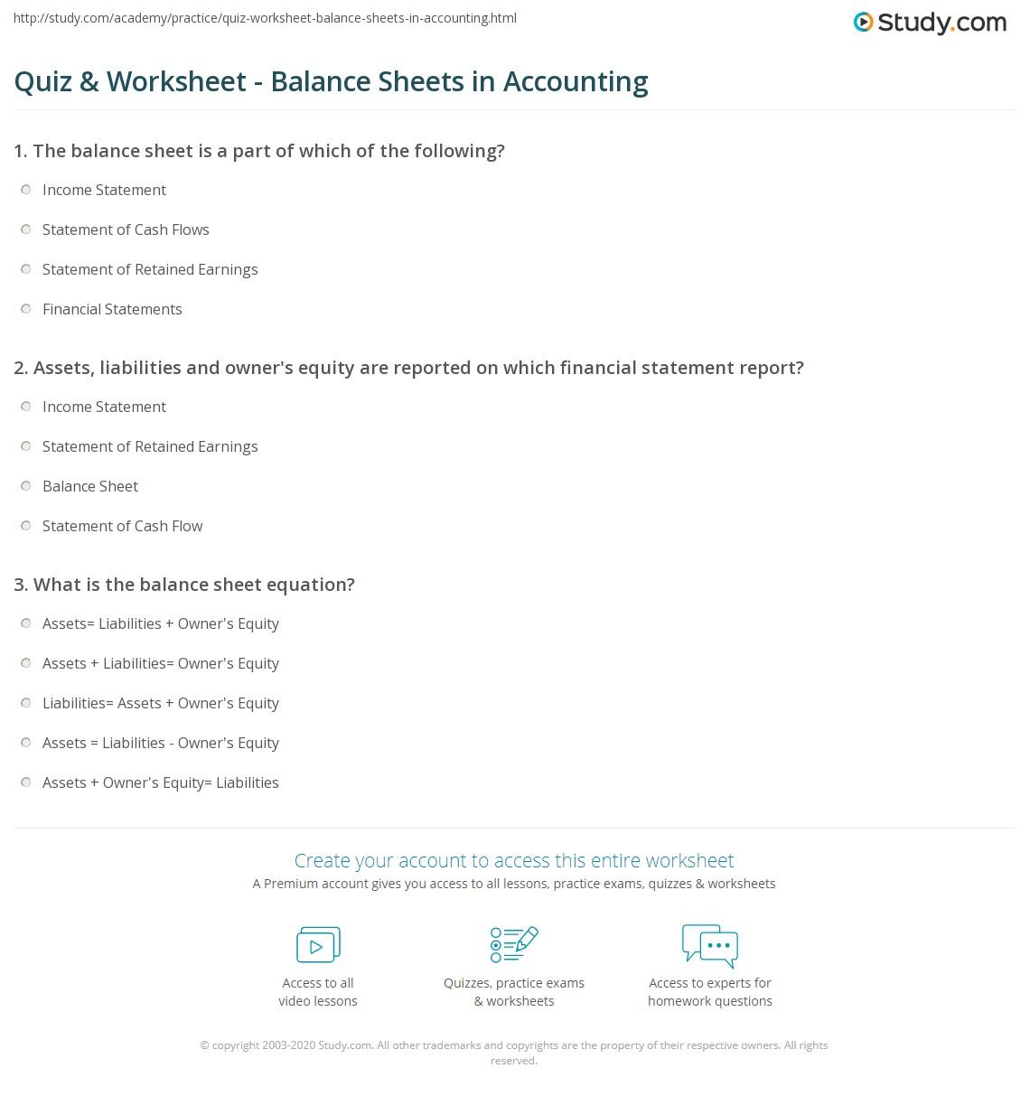 Quiz Worksheet Balance Sheets in Accounting – Components of Balance Sheet