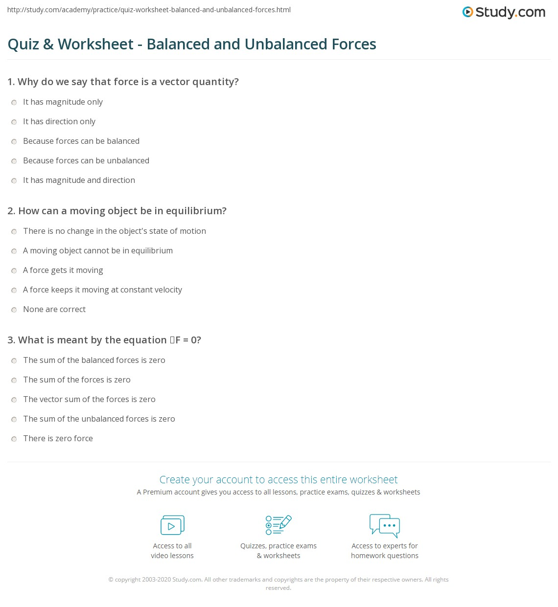Quiz Worksheet Balanced And Unbalanced Forces Study