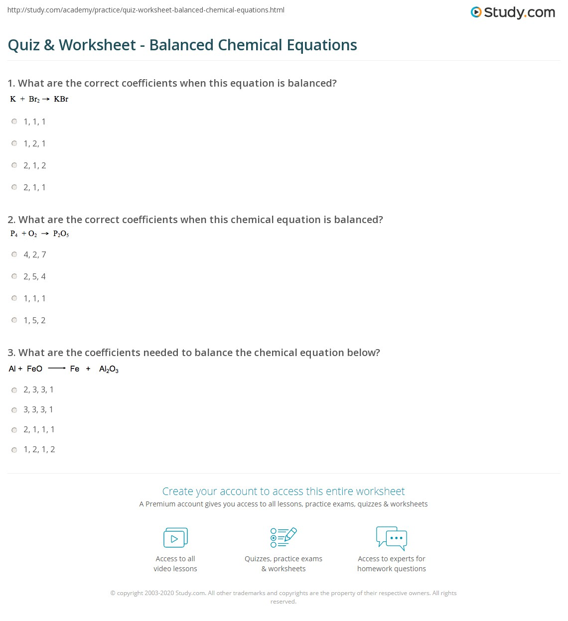Quiz & Worksheet - Balanced Chemical Equations | Study.com