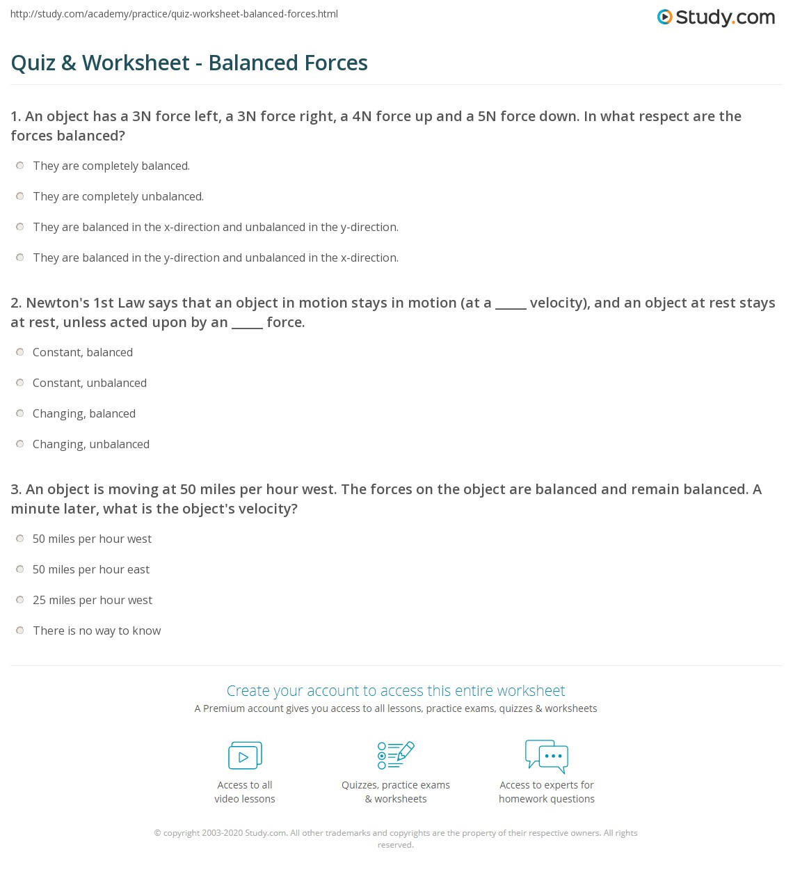 Quiz Worksheet Balanced Forces – Forces and Motion Worksheet