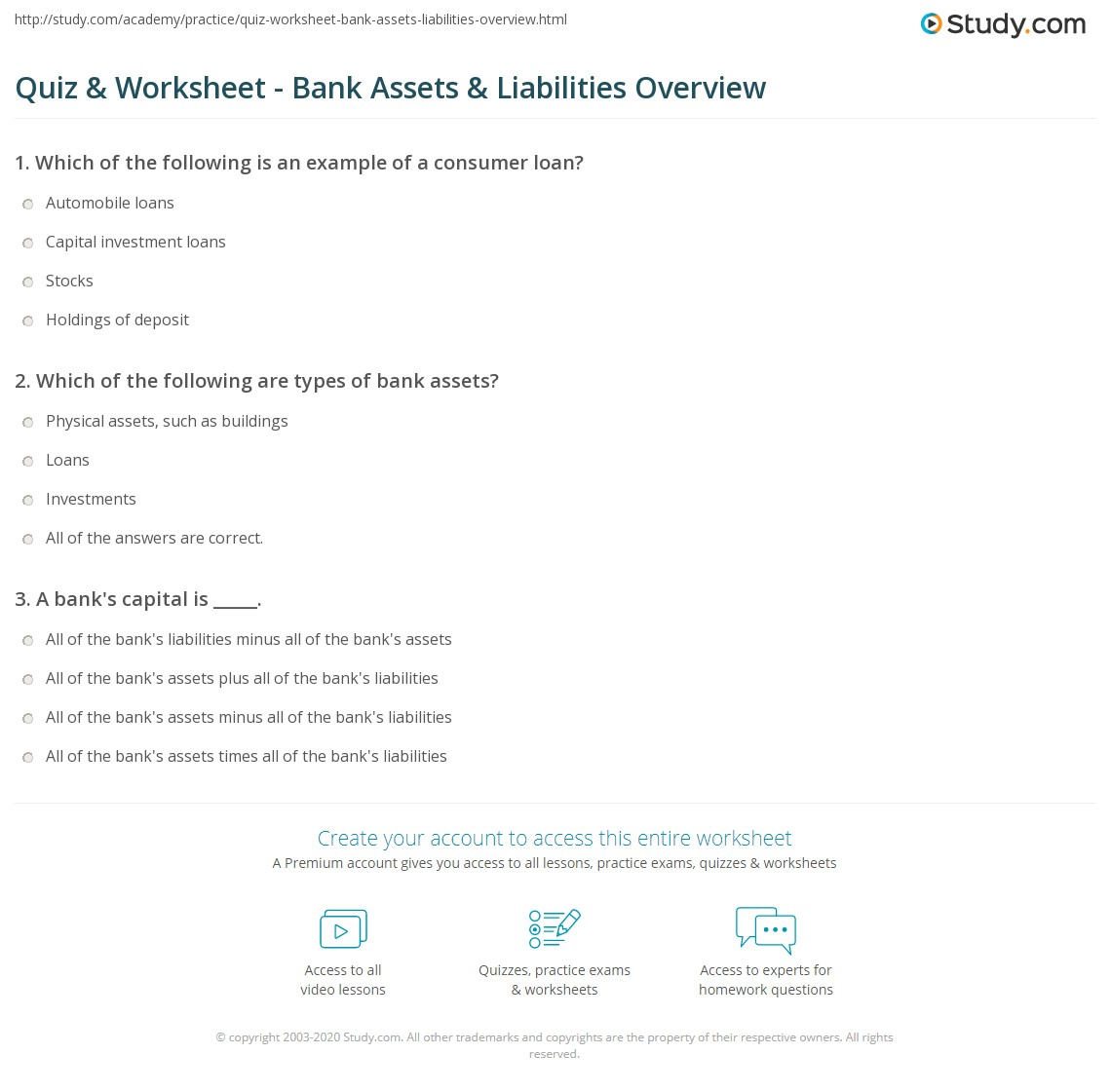 Worksheets Assets And Liabilities Worksheet quiz worksheet bank assets liabilities overview study com print definitions examples worksheet